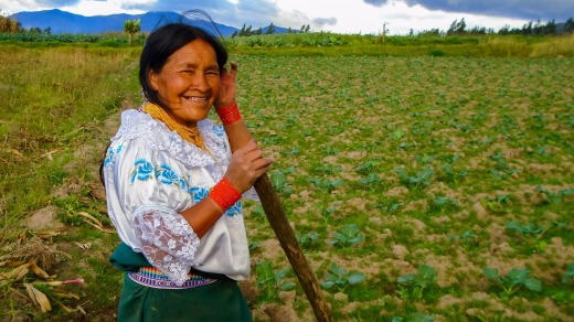 Working the fields near Otavelo, Ecuador.