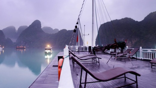 A view from on board a chinese junk cruise of Halong Bay.