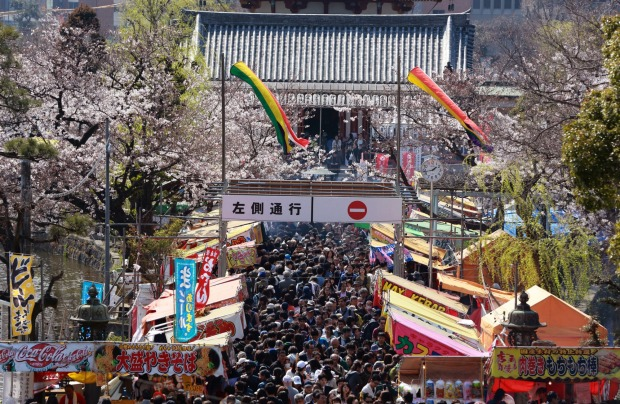 Visitors crowd to see blooming cherry blossoms at Ueno Park in Tokyo. Cherry blossom season has officially kicked off in ...