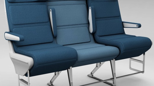 The middle seat's slightly offset position also allows passengers to claim both armrests.