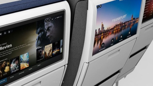The middle seat's extra width allows for a larger inflight entertainment unit.