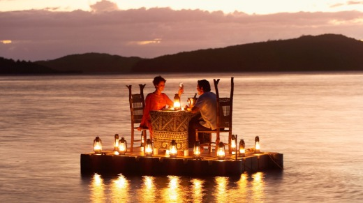 Dining on a floating pontoon.