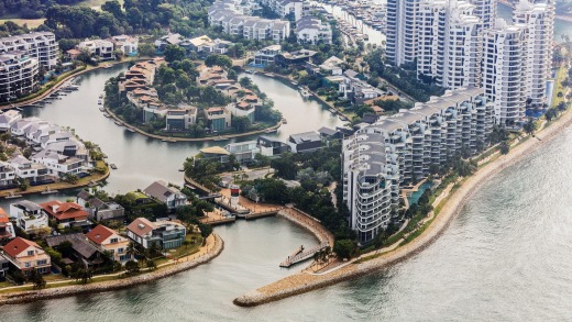 The Seascape and other luxury property developments at Sentosa Cove.