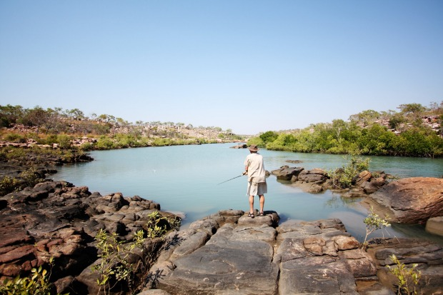 Berkeley River Lodge, Western Australia. Fishing in the river.