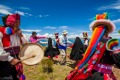 Tourists and locals at Taquille Lake Titicaca.