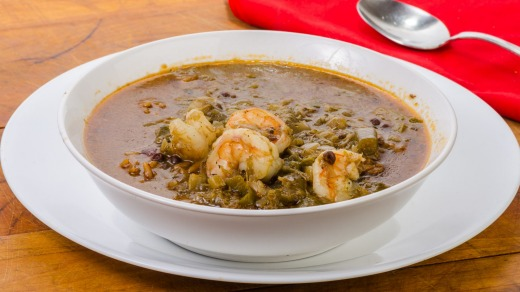 One dish Cajun meal of spicy shrimp gumbo with red beans and rice.