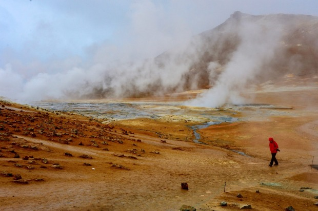 At Icelands Namaskar Pass we felt as though we were on another planet. The steam from the fissures gave an eerie feel to ...