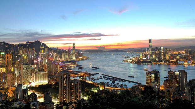 Hong Kong city and harbour view.