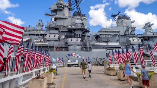 Missouri battleship in Pearl Harbor, US.