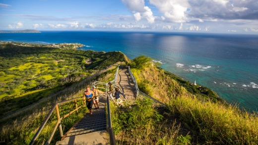 The route to Diamond Head Crater, Oahu, Hawaii.