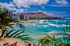 Waikiki Beach and Diamond Head in Hawaii.