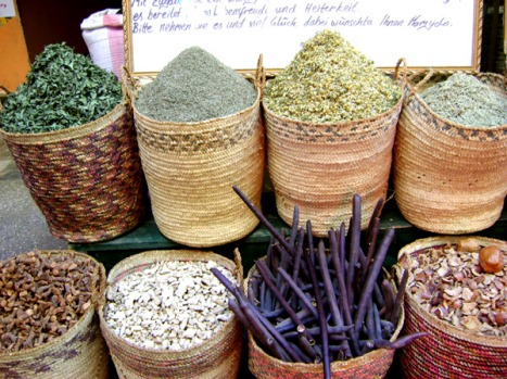 Herbs and spices for sale at the market.