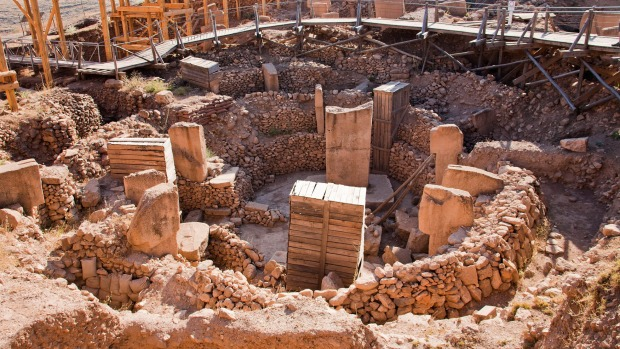 The remains of an ancient Neolithic sanctuary built on a hilltop in Gobeklitepe in Sanliurfa, Turkey. This is one of the ...
