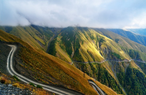 The road to Omalo in Tusheti region, Georgia.