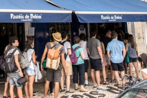 Worth the wait: Queues outside Pasteis de Belem in Lisbon.