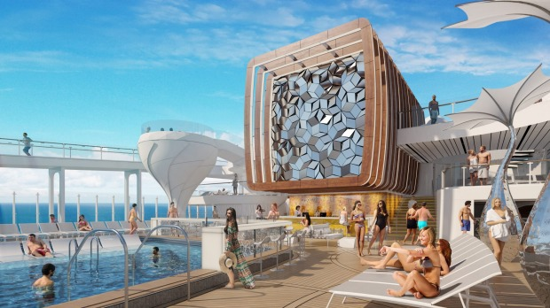 Royal Caribbean's Celebrity Edge will feature Eames lounges and elevated martini glass-shaped hot tubs.