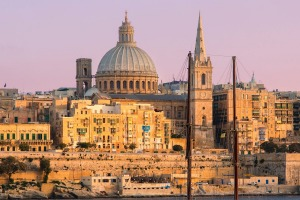 The skyline of Valletta, Malta, with St Paul's Anglican Cathedral and Carmelite Church.