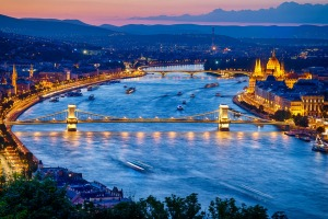 Travel from Budapest, pictured, to Prague on a luxury train journey.