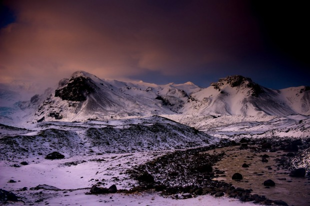 Iceland's scenic splendour countryside. Taken during her mid-winter limited 4 hours of light between Reykjavik and ...