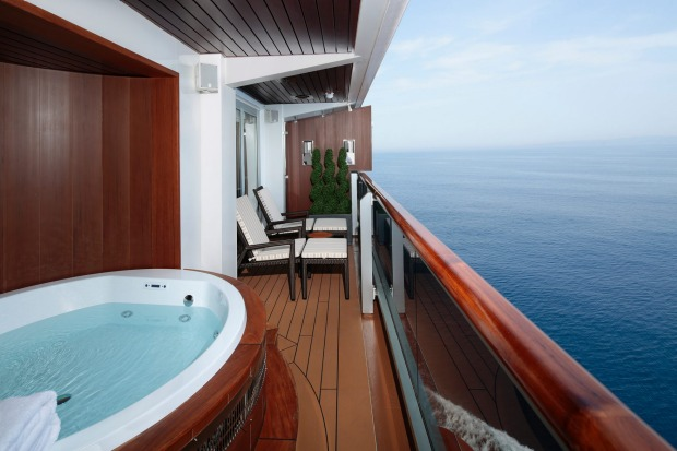 A Pinnacle Suite (balcony) on Holland-America MS Koningsdam.