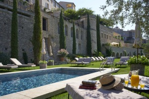 Swimming pool and garden terraces at La Bastide de Gordes.
