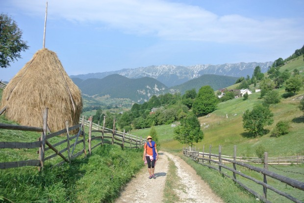 The farms of Transylvania are surrounded by majestic mountains.