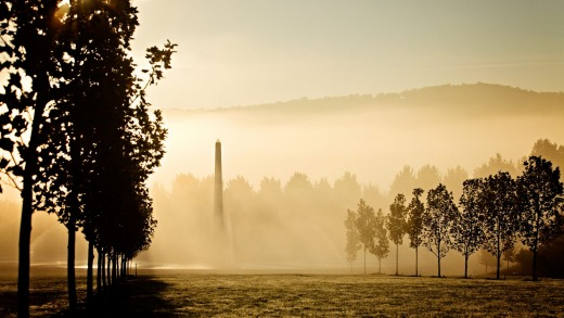 Mayfield Garden has become a major showpiece and features an obelisk, seen here in early morning mist.