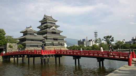 Matsumoto Castle and its red bridge.