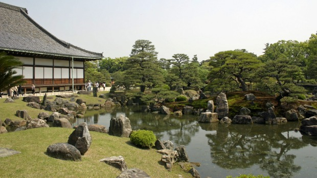 The gardens of Nijo Castle in Kyoto.