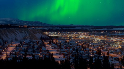 The northern lights over downtown Whitehorse.