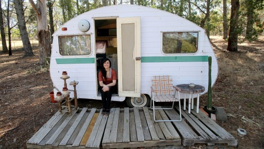 Angela Henley has decked out a caravan on her Lauriston property to rent through Airbnb.