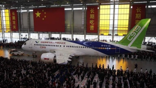 China's first C919 is presented after it rolled off the production line on November 2, 2015.