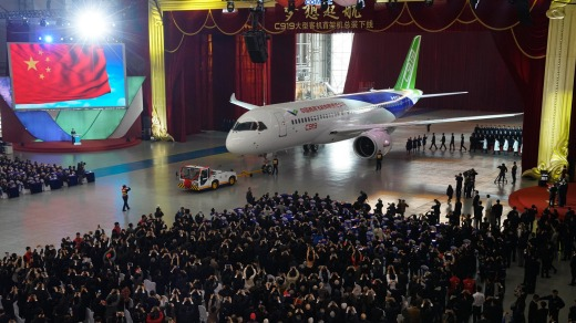 The C919 it rolls off the production line at Shanghai Aircraft Manufacturing in November 2015.