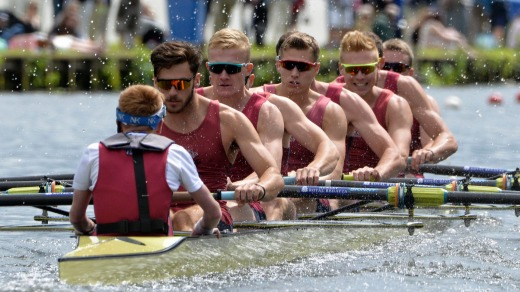 Teams compete at the Henley Royal Regatta on The River Thames at Henley, UK.