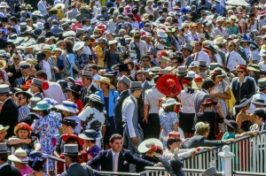 Crowds in the Royal enclosureat the Royal Ascot.