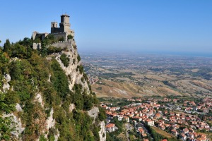 Castle della Guaita in the state of San Marino, surrounded by Italy.