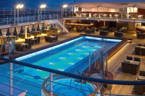 Silver Muse's pool deck, around which bar staff glide bearing colourful concoctions.
