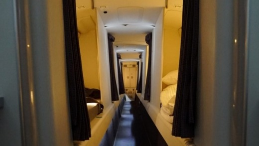 There are eight single beds above economy class.