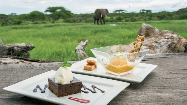 Dishes at Kenya's Ol Donyo Lodge in the Chyulu Hills.