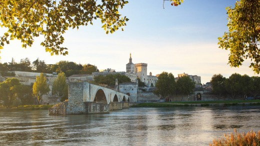 Avignon showing the Papal Palace and Pont Saint-Benezet.