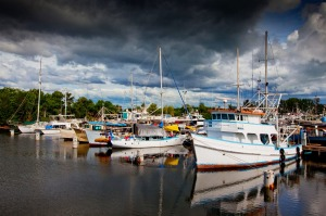 Fishing boats at Darwin prepare for a day on the open water.