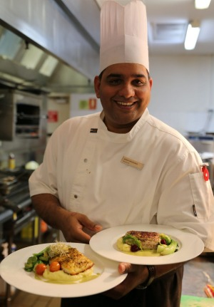 Hilton chef Akash Srivastava can prepare your catch for you at the end of a day's fishing.