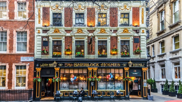The Sherlock Holmes Pub in London, was so named in 1957 when it became home to Sherlock Holmes exhibits from the ...