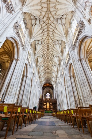 The gothic interior of Winchester Cathedral.
