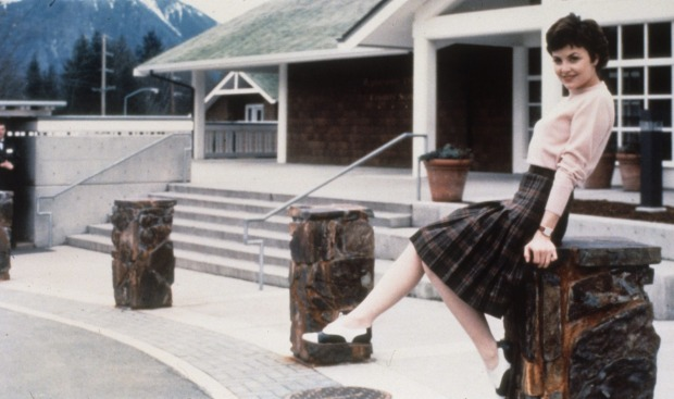 "Sherilyn Fenn as the cherry-stem twisting Audrey Horne outside the Salish Lodge, or the ""Great Northern Hotel' as it was ..."