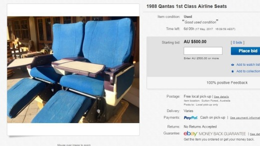 A 1988 Qantas first class airline seat for sale.