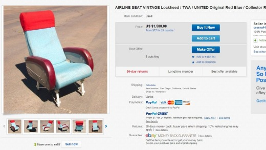 If vintage is more your style, how about this retro United plane seat?