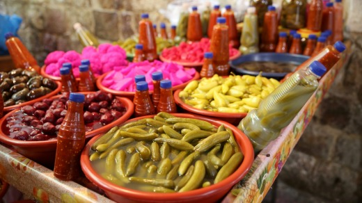 Pickled vegetables for sale on the streets of Nablus.