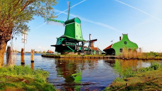 The village of Zaanse Schans is about 15 kilometres from Amsterdam.