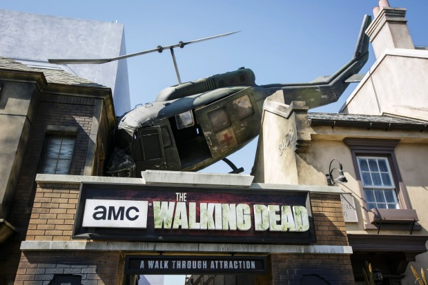Helicopter crashed on top of the Walking Dead maze.